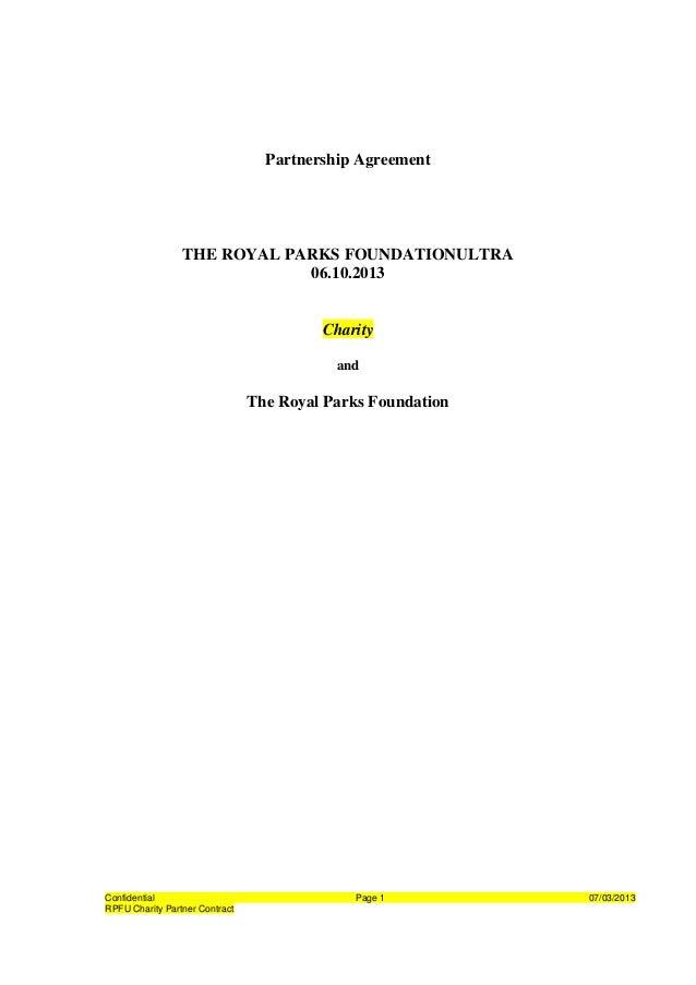 Partnership Agreement                 THE ROYAL PARKS FOUNDATIONULTRA                             06.10.2013              ...
