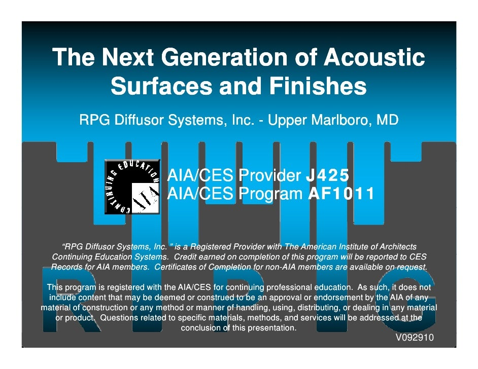 The Next Generation of Acoustic        Surfaces and Finishes          RPG Diff              Diffusor S t                  ...