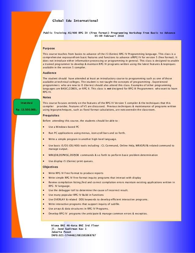 Ingin Belajar AS/400 RPG IV Programming from Basic to