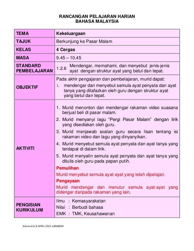 Kemas kini 8 APRIL 2013-UBM&KM RANCANGAN PELAJARAN HARIAN BAHASA MALAYSIA TEMA Kekeluargaan TAJUK Berkunjung ke Pasar Mala...