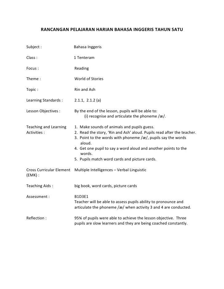 RANCANGAN PELAJARAN HARIAN BAHASA INGGERIS TAHUN SATUSubject :                 Bahasa InggerisClass :                   1 ...