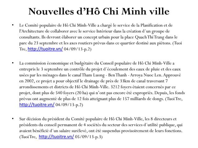 Nouvelles d'Hô Chi Minh ville • Le Comité populaire de Hô Chi Minh-Ville a chargé le service de la Planification et de l'A...