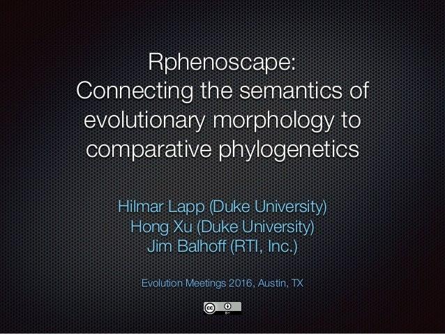 Rphenoscape: Connecting the semantics of evolutionary morphology to comparative phylogenetics Hilmar Lapp (Duke Universit...