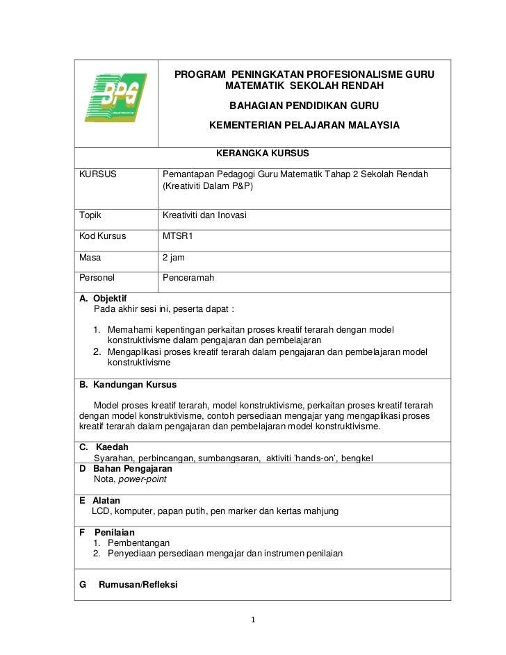 PROGRAM PENINGKATAN PROFESIONALISME GURU                               MATEMATIK SEKOLAH RENDAH                           ...