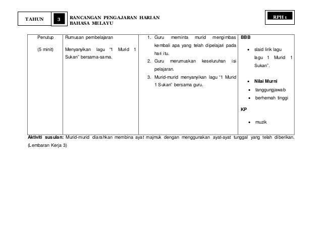 "3 RANCANGAN PENGAJARAN HARIAN BAHASA MELAYU TAHUN RPH 1 Penutup (5 minit) Rumusan pembelajaran Menyanyikan lagu ""1 Murid 1..."