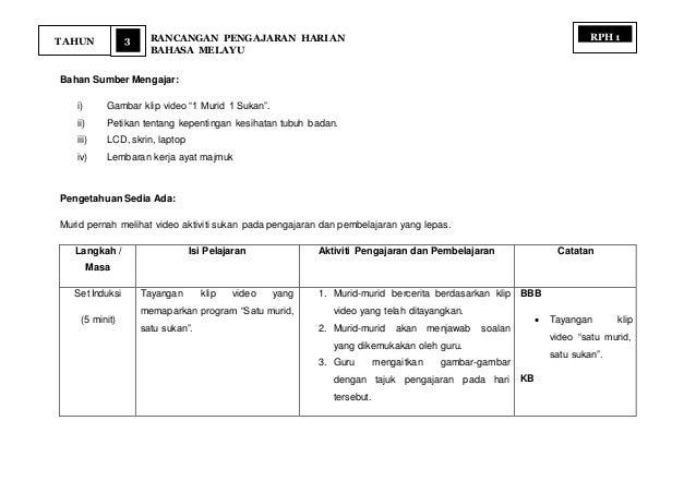 """3 RANCANGAN PENGAJARAN HARIAN BAHASA MELAYU TAHUN RPH 1 Bahan Sumber Mengajar: i) Gambar klip video """"1 Murid 1 Sukan"""". ii)..."""