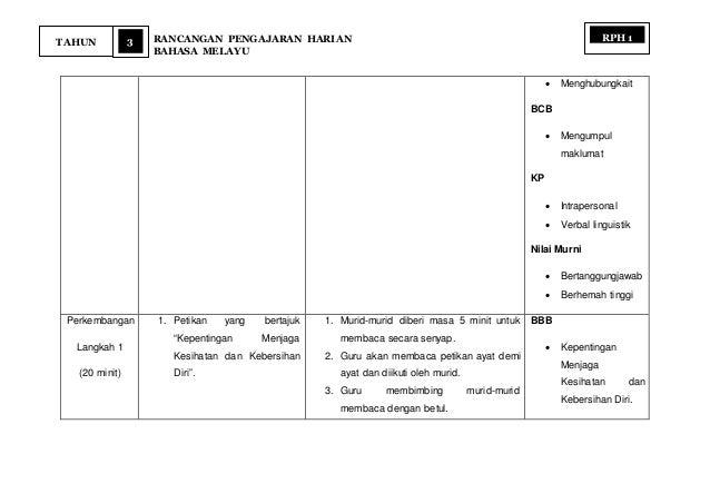3 RANCANGAN PENGAJARAN HARIAN BAHASA MELAYU TAHUN RPH 1  Menghubungkait BCB  Mengumpul maklumat KP  Intrapersonal  Ver...