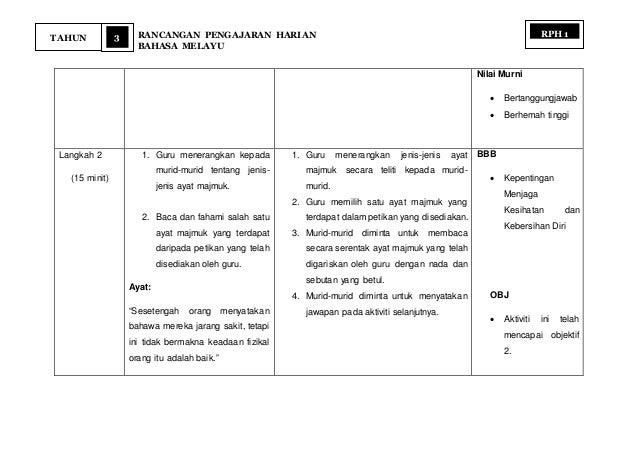 3 RANCANGAN PENGAJARAN HARIAN BAHASA MELAYU TAHUN RPH 1 Nilai Murni  Bertanggungjawab  Berhemah tinggi Langkah 2 (15 min...