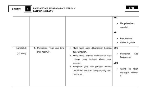 3 RANCANGAN PENGAJARAN HARIAN BAHASA MELAYU TAHUN RPH 1 KB  Menyelesaikan masalah KP  Interpersonal  Verbal linguistik ...
