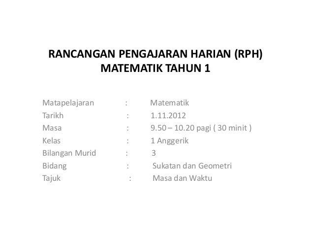 Rph Matematik Tahun 1