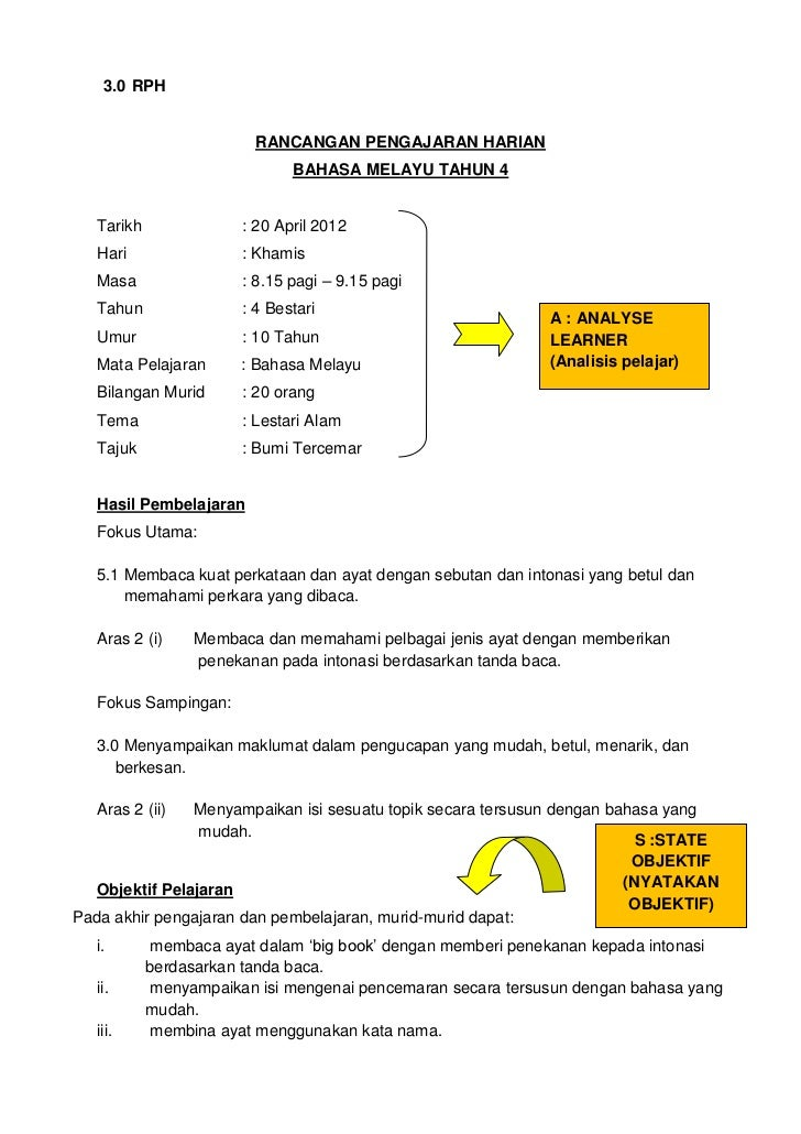 3.0 RPH                         RANCANGAN PENGAJARAN HARIAN                               BAHASA MELAYU TAHUN 4   Tarikh  ...