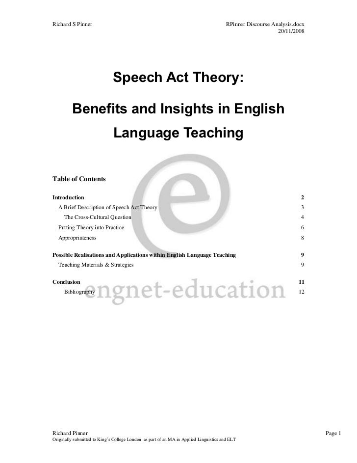 essay about speech acts Essays in speech act theory by daniel vanderveken, 9789027250940, available at book depository with free delivery worldwide.