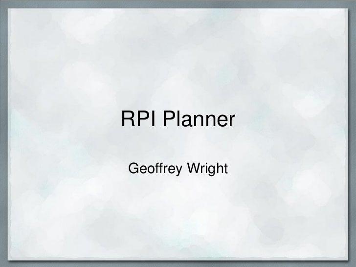 RPI PlannerGeoffrey Wright