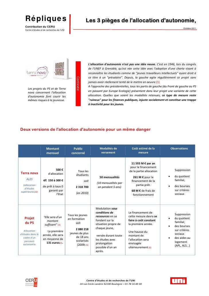 Répliques                                                          Les 3 pièges de lallocation dautonomie,    Contribution...