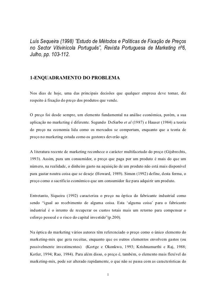 """Luís Sequeira (1998) """"Estudo de Métodos e Políticas de Fixação de Preçosno Sector Vitivinícola Português"""", Revista Portugu..."""