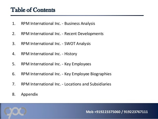 Rpm International Inc Rpm Company Profile And Swot