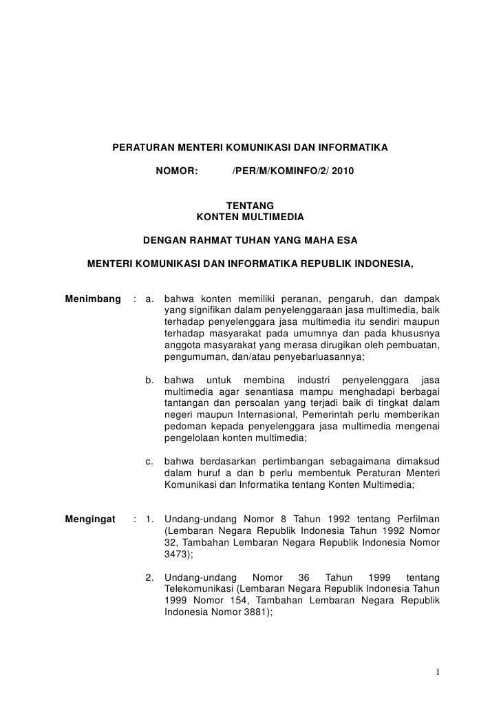 NTERI KOMUNIKASI DAN INFORMATIKA REPUBLIK INDONESIA          PERATURAN MENTERI KOMUNIKASI DAN INFORMATIKA                 ...