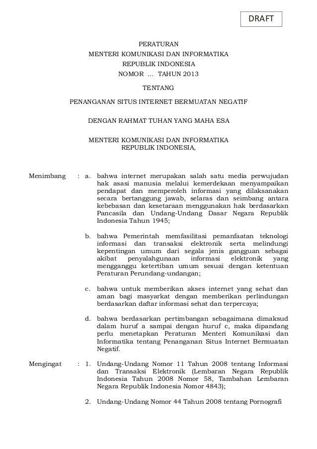 DRAFT PERATURAN MENTERI KOMUNIKASI DAN INFORMATIKA REPUBLIK INDONESIA NOMOR ... TAHUN 2013 TENTANG PENANGANAN SITUS INTERN...