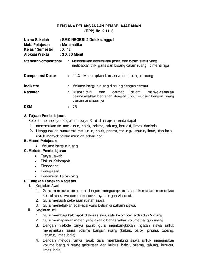 RENCANA PELAKSANAAN PEMBELAJARANAN                              (RPP) No. 2.11. 3Nama Sekolah        : SMK NEGERI 2 Doloks...