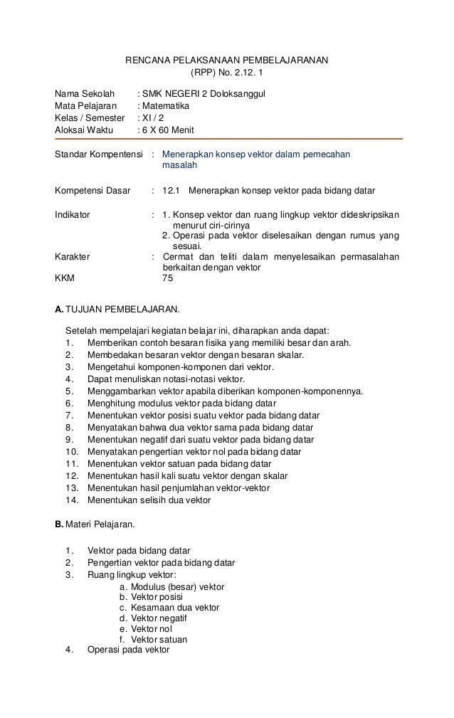 RENCANA PELAKSANAAN PEMBELAJARANAN                              (RPP) No. 2.12. 1Nama Sekolah           : SMK NEGERI 2 Dol...