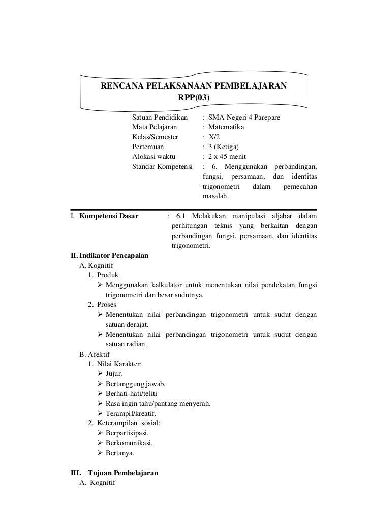 RENCANA PELAKSANAAN PEMBELAJARAN                      RPP(03)                  Satuan Pendidikan    : SMA Negeri 4 Parepar...