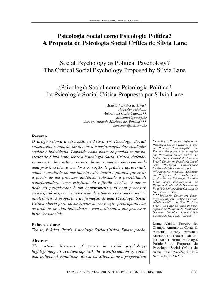 PSICOLOGIA SOCIAL COMO PSICOLOGIA POLÍTICA?           Psicologia Social como Psicologia Política?      A Proposta de Psico...