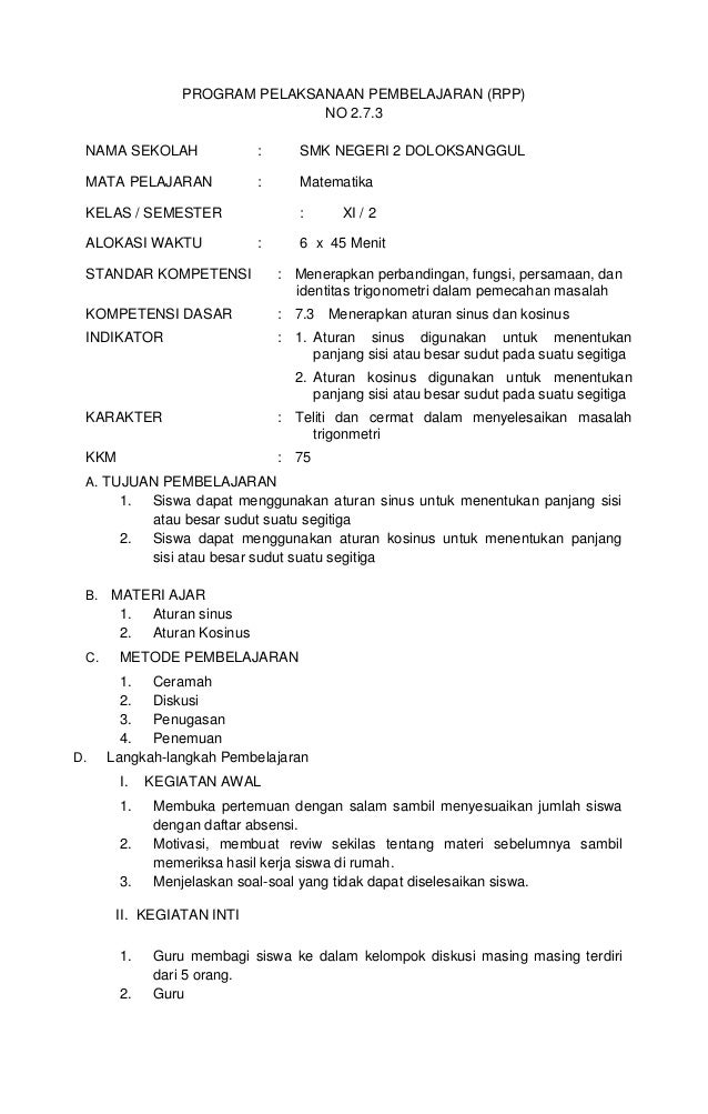 PROGRAM PELAKSANAAN PEMBELAJARAN (RPP)                               NO 2.7.3 NAMA SEKOLAH                :      SMK NEGER...