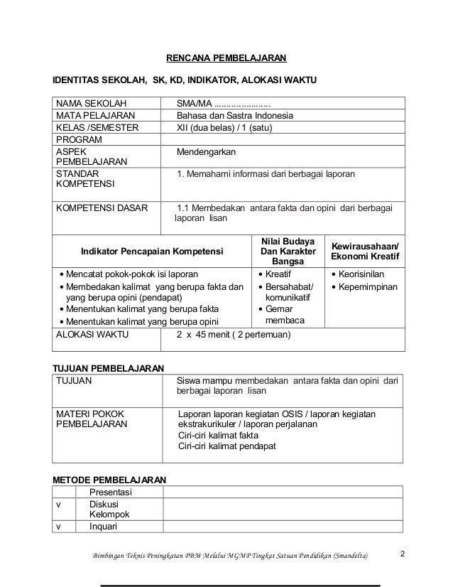 Materi Kelas Xii Semester 1 Bahasa Dan Sastra Indonesia Rpp Bahasa Indonesia Kelas Xii Semester