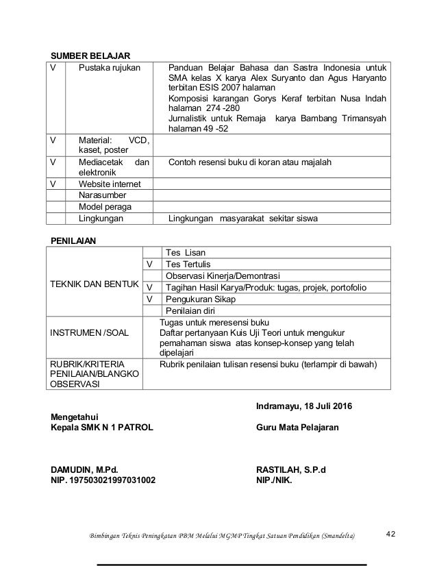 Rpp Bahasa Indonesia Kelas Xii Semester 1 Smk N 1 Patrol