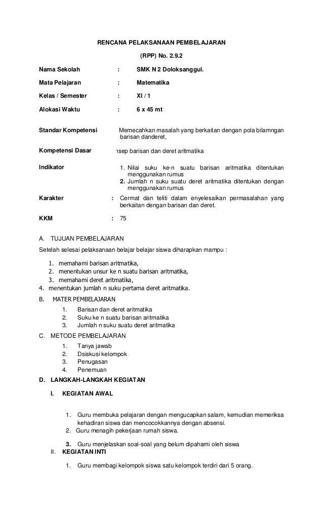 RENCANA PELAKSANAAN PEMBELAJARAN                                            (RPP) No. 2.9.2Nama Sekolah                   ...
