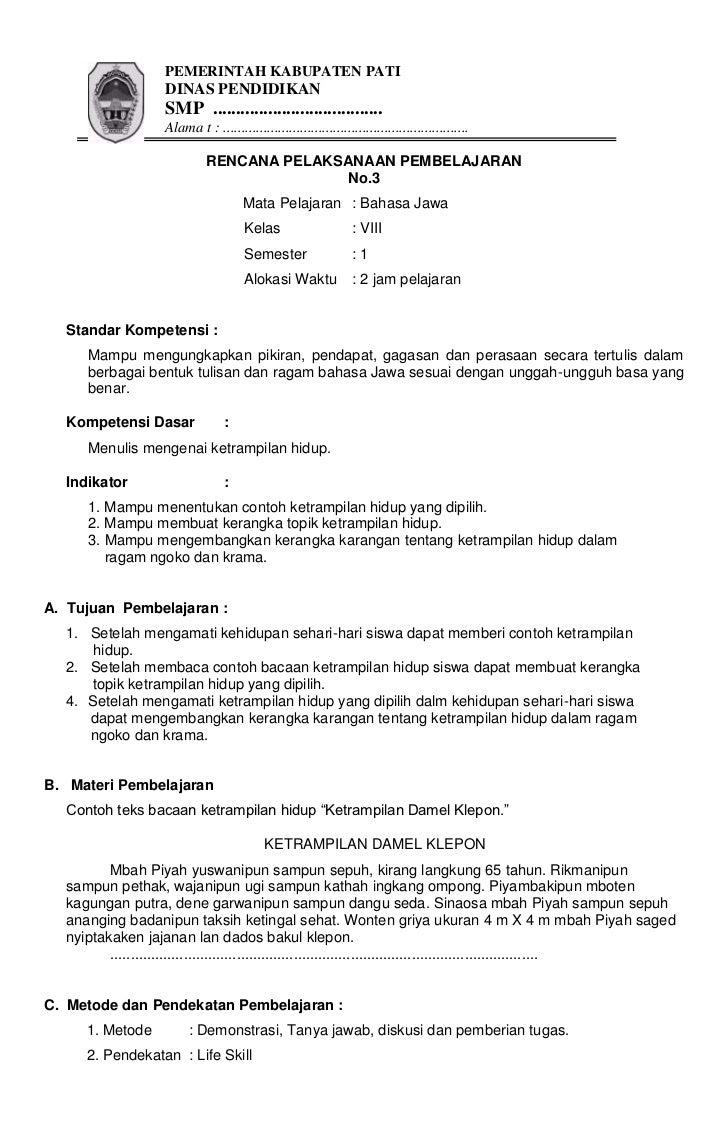 Rpp Jawa 8 Sem 1