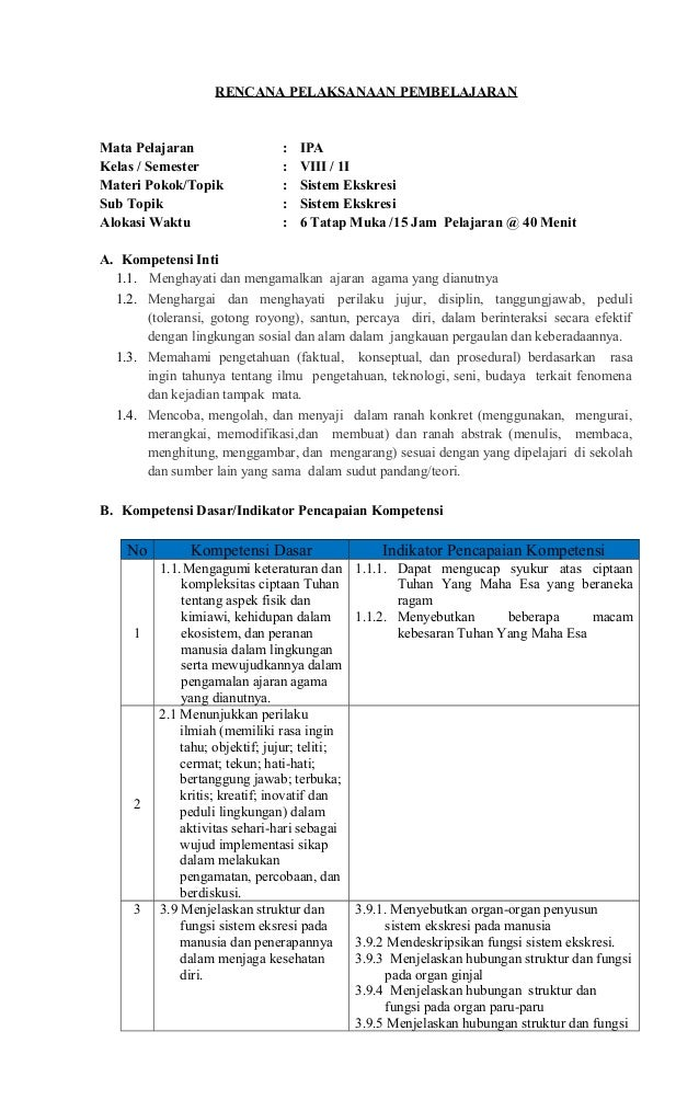 Rpp Ipa Smp Kelas 8 Kurikulum 2013 Bab Sistem Ekskresi