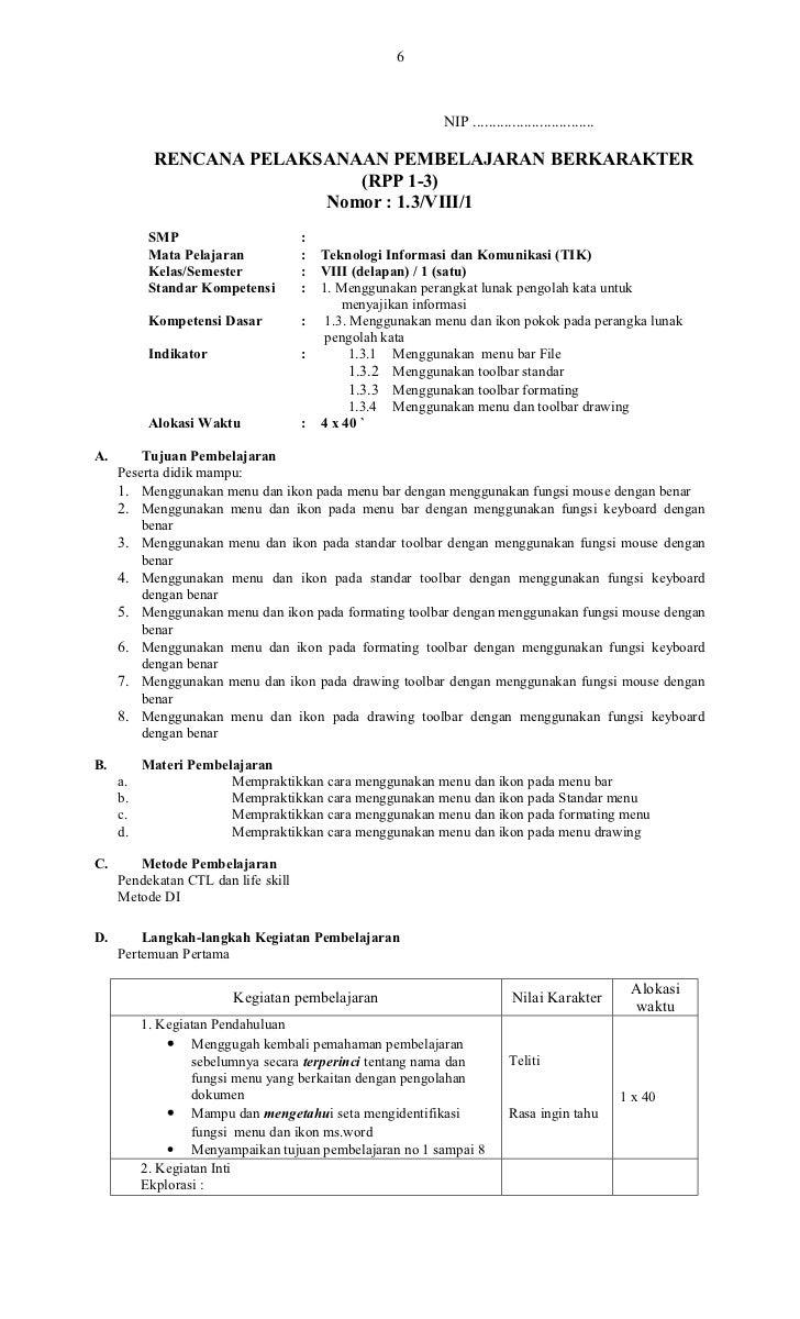 Rpp Tik Berkarakter Kelas 8 Sem I1 1