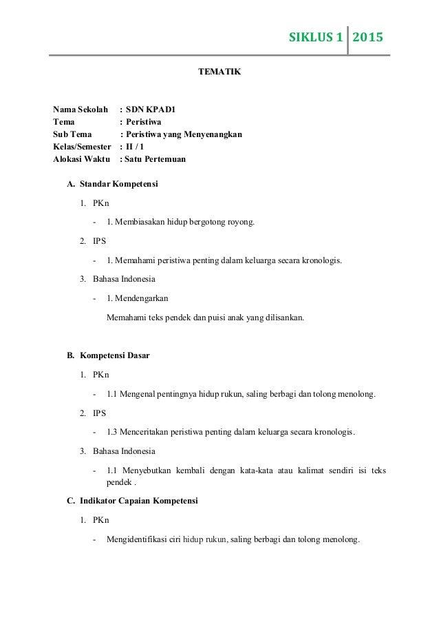 Rpp Tematik Sd Kelas 2