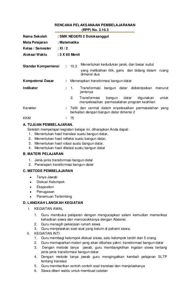 RENCANA PELAKSANAAN PEMBELAJARANAN                                (RPP) No. 2.10.3Nama Sekolah          : SMK NEGERI 2 Dol...