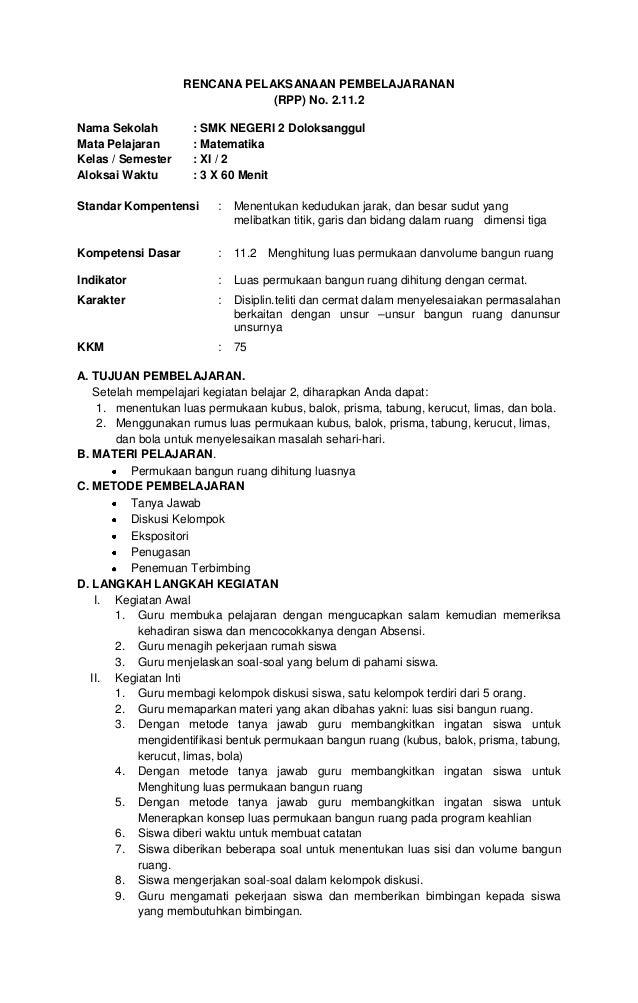 RENCANA PELAKSANAAN PEMBELAJARANAN                               (RPP) No. 2.11.2Nama Sekolah         : SMK NEGERI 2 Dolok...