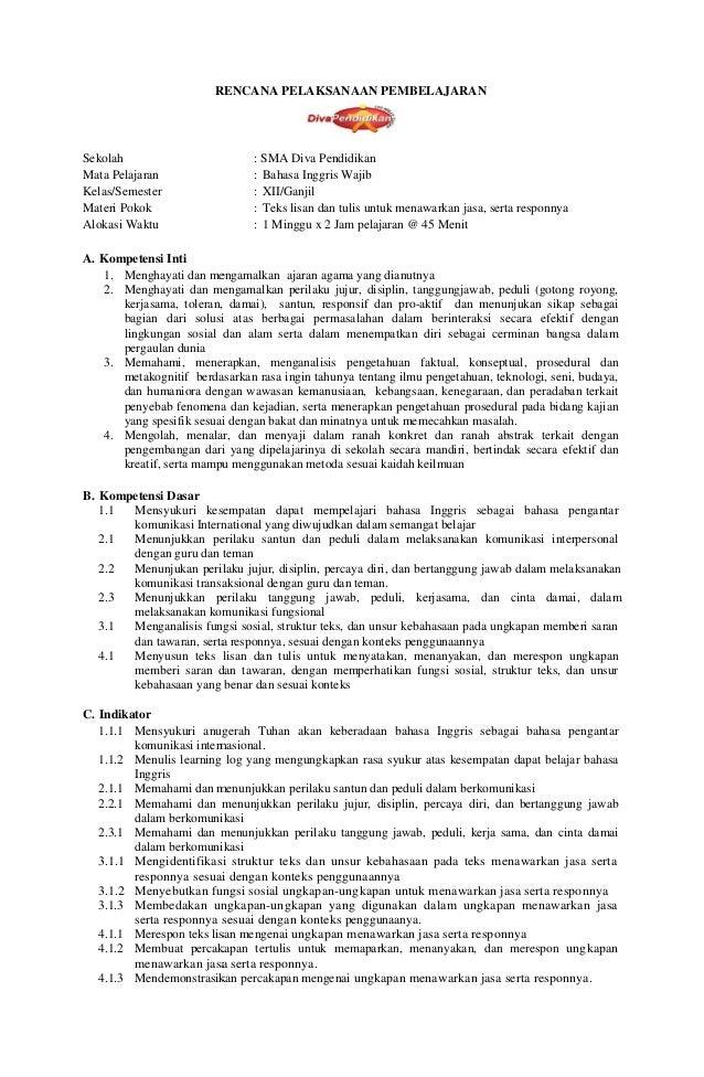 Rpp 1 Bahasa Inggris Wajib Xii K13 Rpp Diva Pendidikan