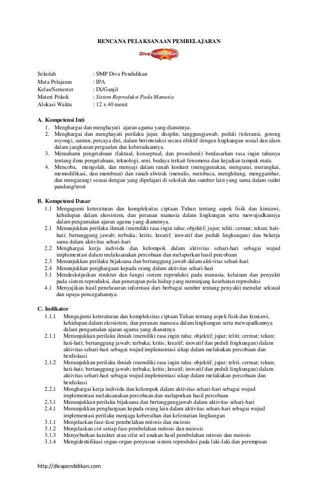 Rpp 1 Ipa Ix K13 Rpp Diva Pendidikan