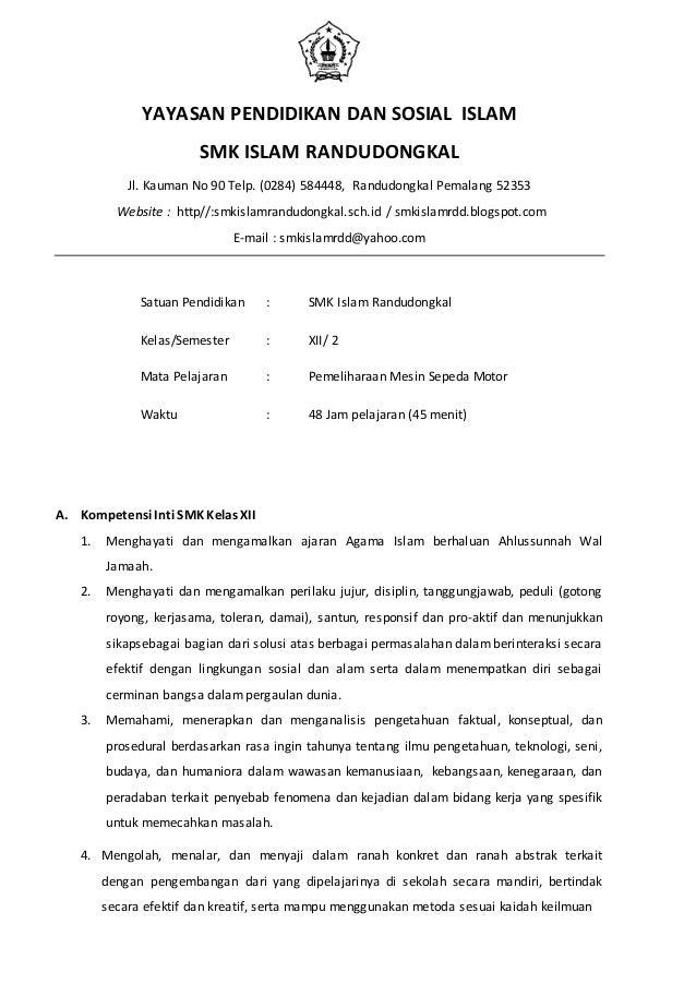 Rpp 1 Pemeliharaan Mesin Spm Genap Xii