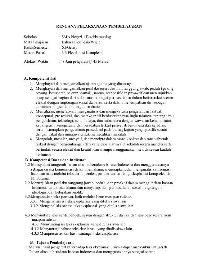 Rpp Bahasa Indonesia Kd 3 3 Teks Eksplanasi
