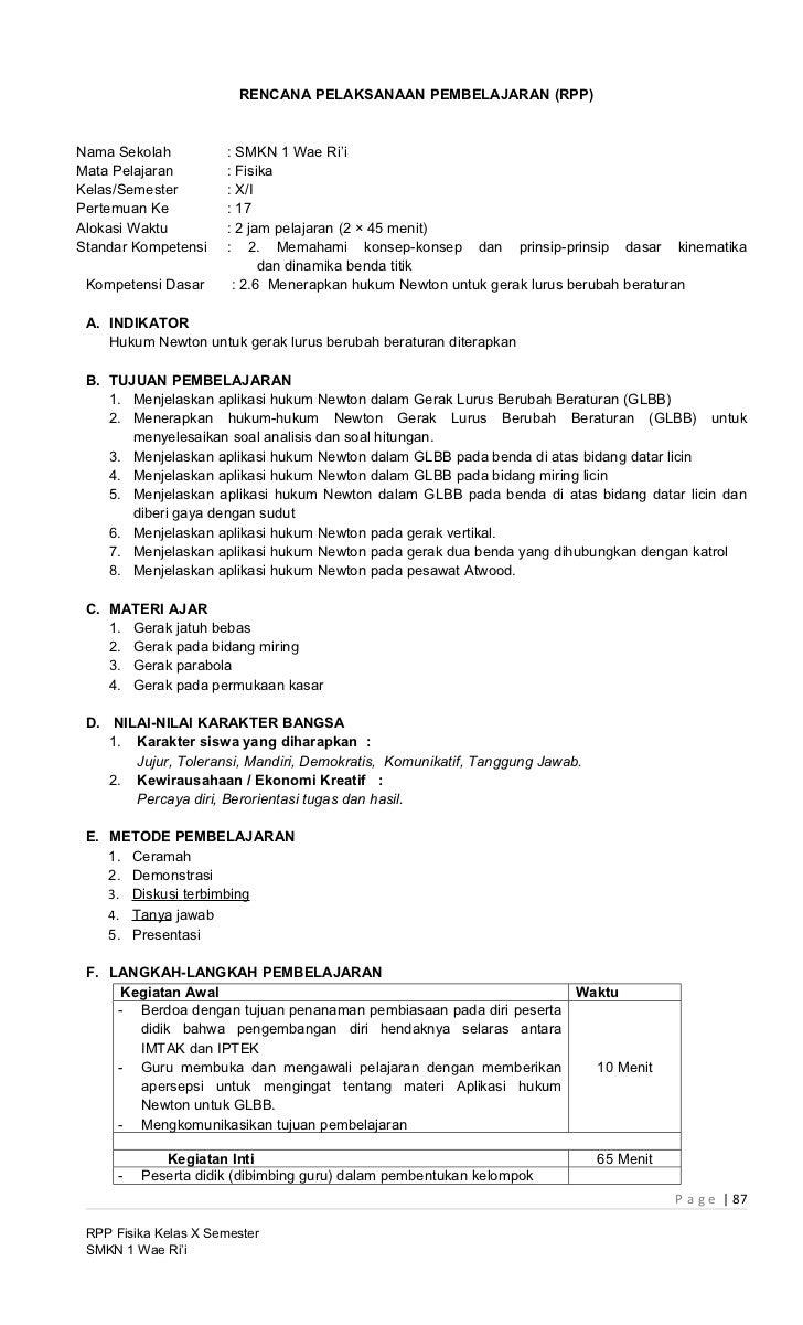 RENCANA PELAKSANAAN PEMBELAJARAN (RPP)Nama Sekolah           : SMKN 1 Wae Ri'iMata Pelajaran         : FisikaKelas/Semeste...