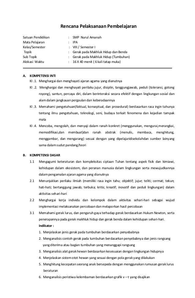 Rpp Ipa Terpadu Kelas 8 Smp Bab 1