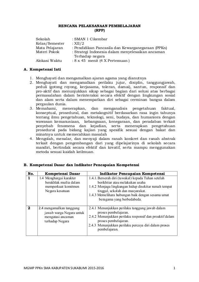 Rpp Bab 6 Ppkn Sma Kelas Xii Kurnas