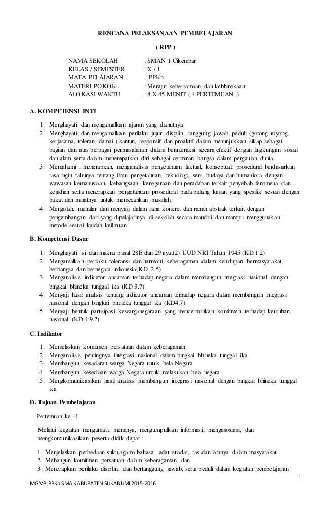 1 MGMP PPKnSMA KABUPATEN SUKABUMI 2015-2016 RENCANA PELAKSANAAN PEMBELAJARAN ( RPP ) NAMA SEKOLAH : SMAN 1 Cikembar KELAS ...
