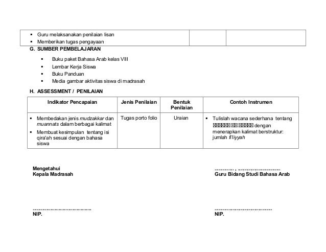Rpp Bahasa Arab M Ts Kelas 8 Semester 1