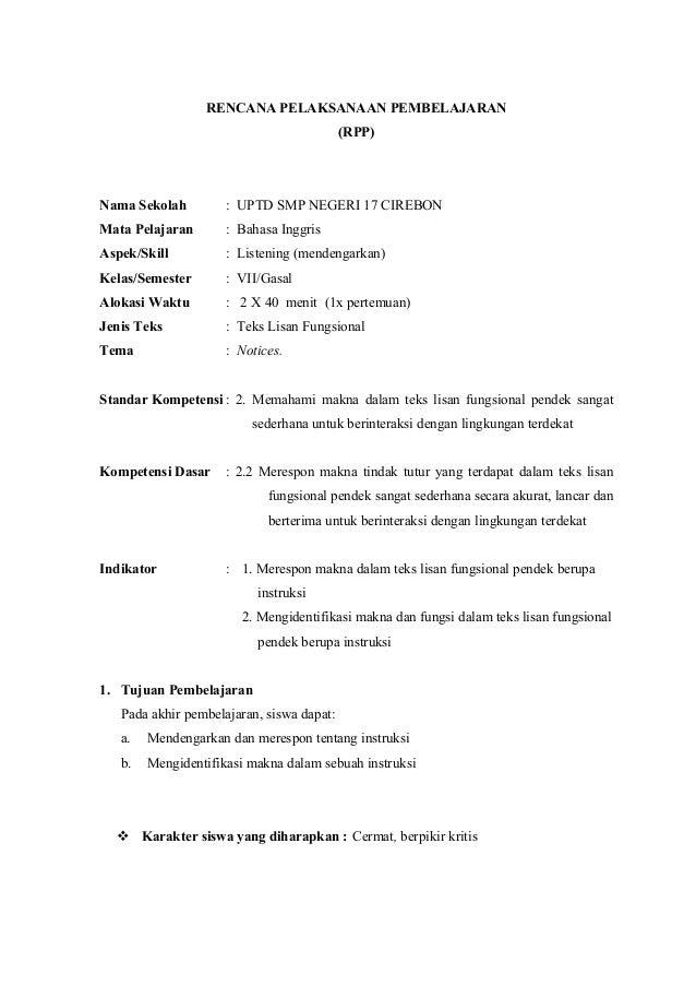 RENCANA PELAKSANAAN PEMBELAJARAN (RPP)  Nama Sekolah  : UPTD SMP NEGERI 17 CIREBON  Mata Pelajaran  : Bahasa Inggris  Aspe...