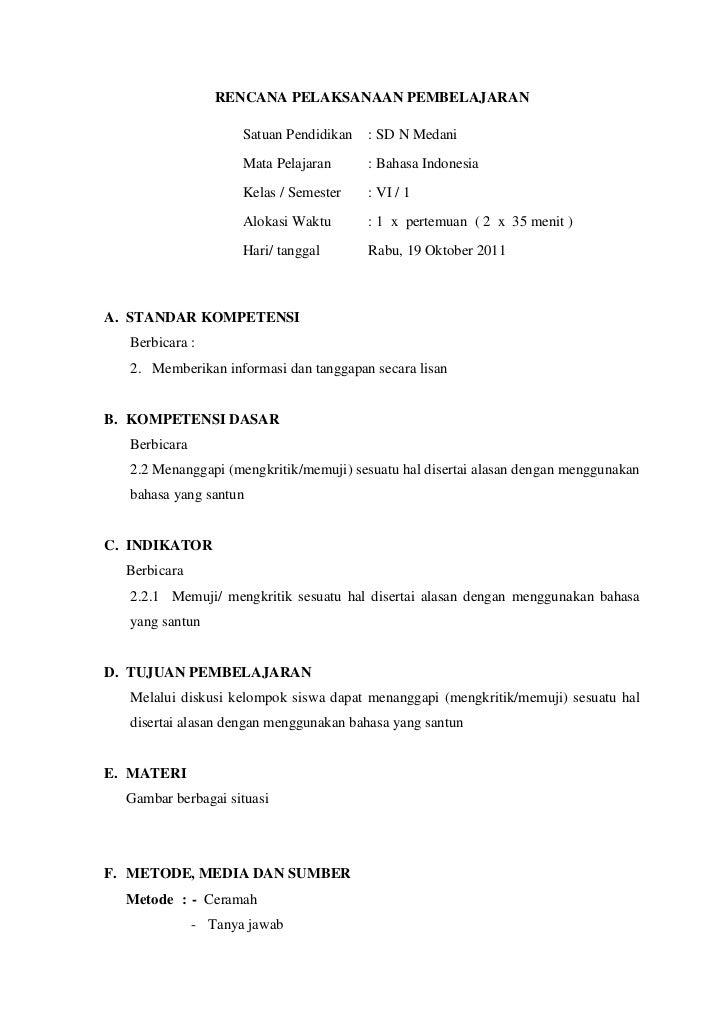 RENCANA PELAKSANAAN PEMBELAJARAN                     Satuan Pendidikan   : SD N Medani                     Mata Pelajaran ...