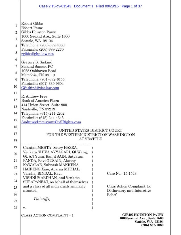 CLASS ACTION COMPLAINT – 1 GIBBS HOUSTON PAUW 1000 Second Ave., Suite 1600 Seattle, WA 98104 (206) 682-1080 1 2 3 4 5 6 7 ...