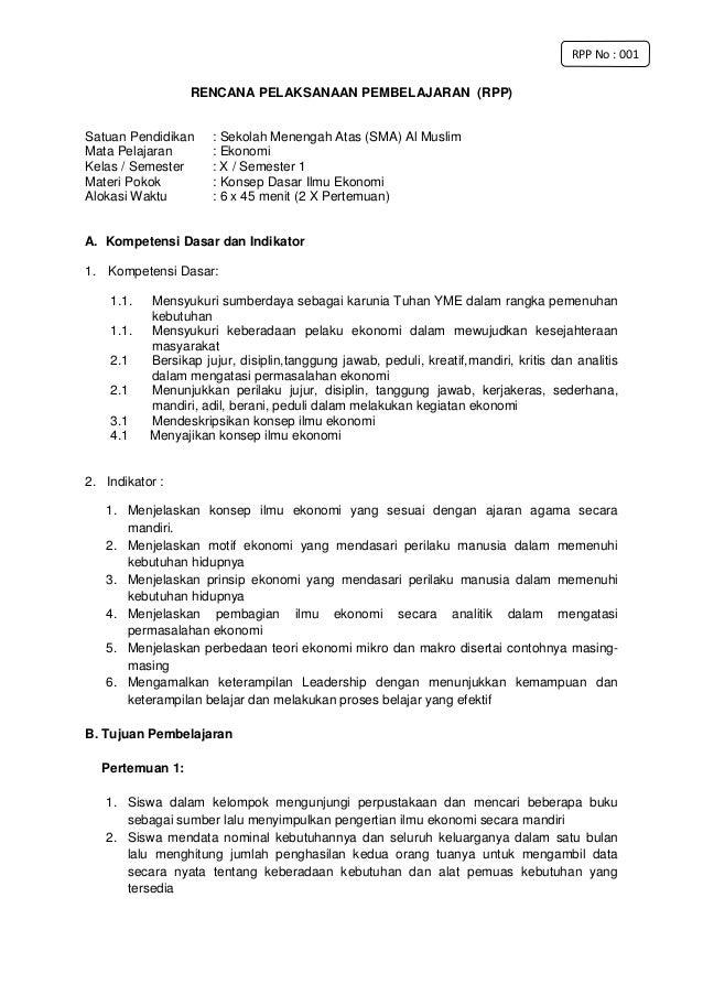 Rpp Ekonomi X Kd 1 Kurikulum 2013