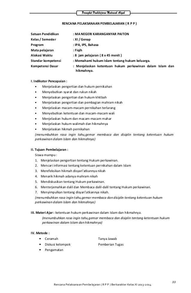 RENCANA PELAKSANAAN PEMBELAJARAN ( R P P ) Satuan Pendidikan : MA NEGERI KARANGANYAR PAITON Kelas / Semester : XI / Genap ...